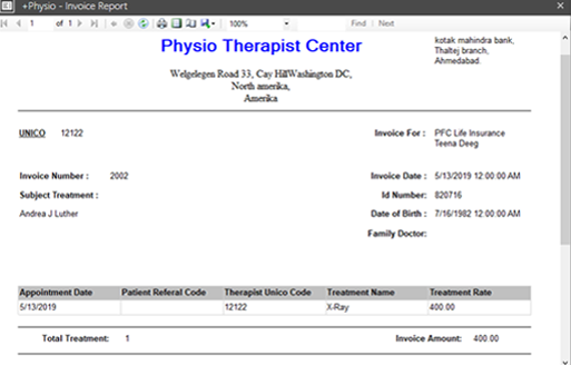 Physiotherapy Software Reporting